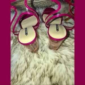 Zara Neon Hot Pink Sandal Heels